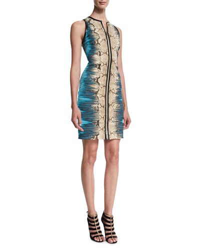 Sleeveless Zip-Front Mixed-Print Dress, Brown/Turquoise