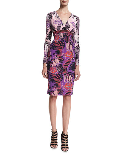 Long-Sleeve Floral-Print Sheath Dress, Red/Pink/Purple