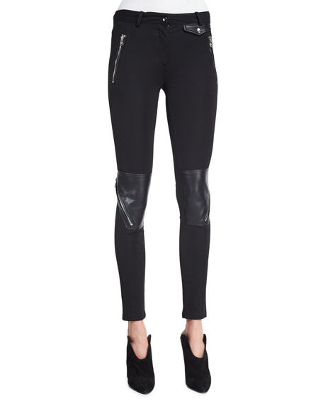 Roberto Cavalli Low-Rise Combo Leggings, Black