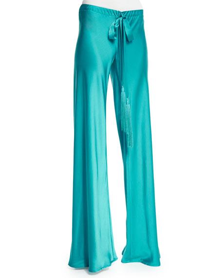 Roberto Cavalli Wide-Leg Drawstring-Waist Pajama Pants, Turquoise