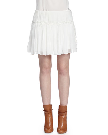 Chloe Tassel-Detailed Gathered Mini Skirt, White