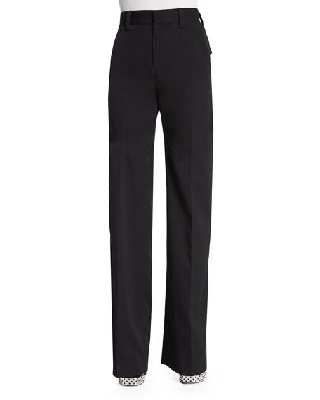 Marc Jacobs Flat-Front Wide-Leg Pants, Black