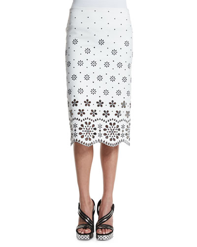 Laser-Cut Gabardine Pencil Skirt, White