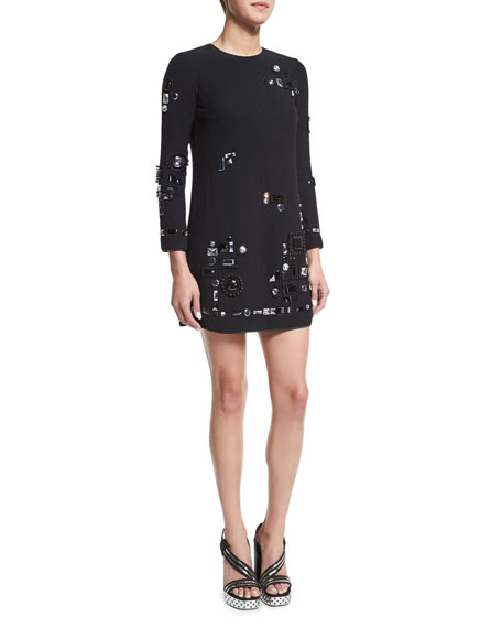 Marc Jacobs Crystal-Embellished Mini Shift Dress, Black