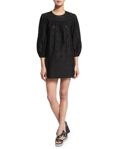 3/4-Sleeve Peasant Tunic Dress, Black