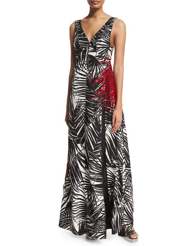 Sleeveless Palm-Print V-Neck Gown, Black