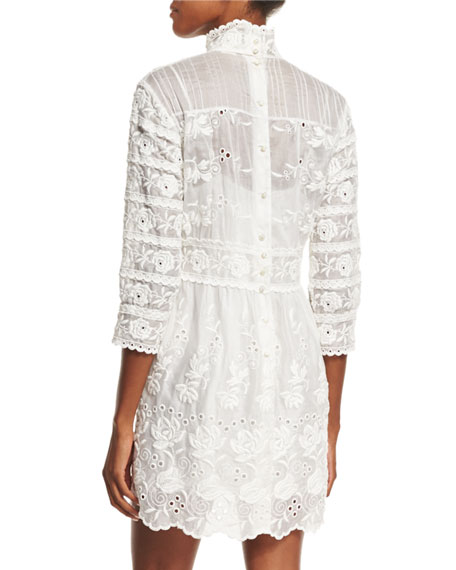 3/4-Sleeve Embroidered Lace Dress, Ivory