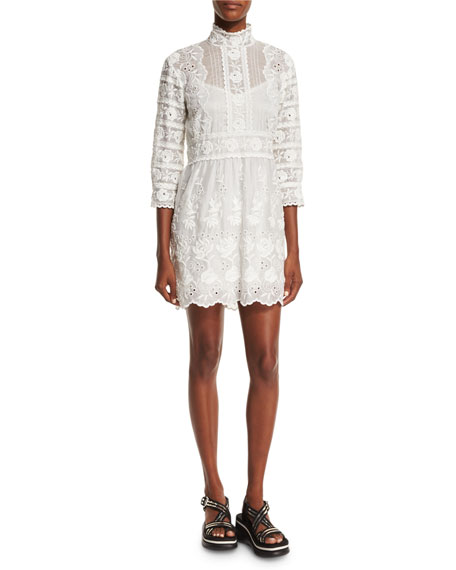 Marc Jacobs 3/4-Sleeve Embroidered Lace Dress, Ivory