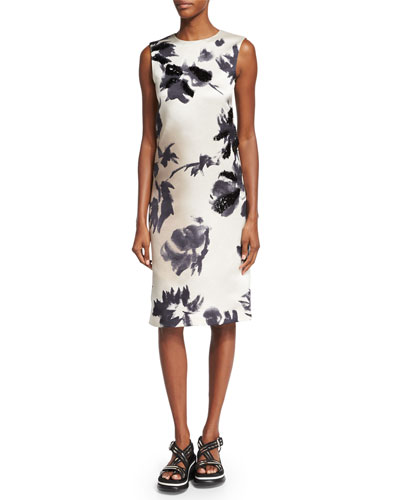 Brushstroke-Floral Print Sheath Dress, Gray