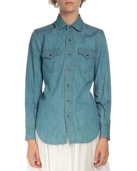 Saint Laurent Ruffled-Collar Chambray Shirt, Denim