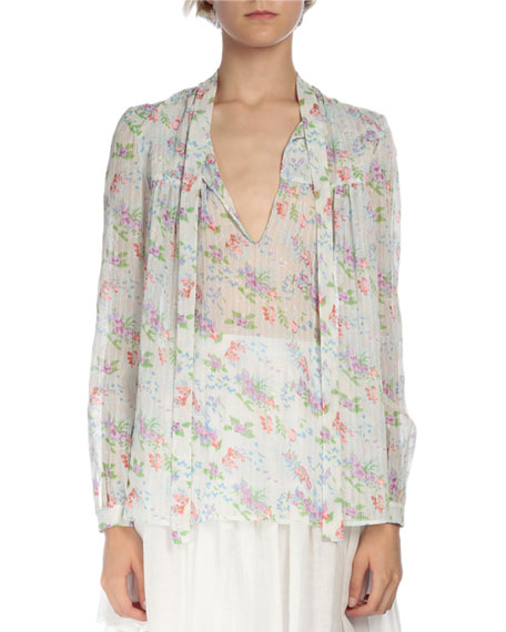Saint Laurent Long-Sleeve Tie-Neck Blouse, Blue/Multi Colors