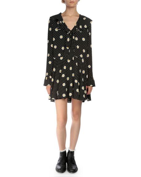 Saint Laurent Long-Sleeve Daisy-Print Mini Dress, Black/White/Yellow