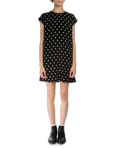 Cap-Sleeve Dot-Print Skimmer Dress, Black/White