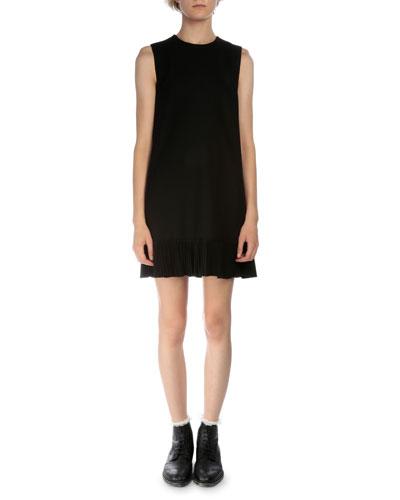 Sleeveless Shift Dress W/Plisse Hem, Black