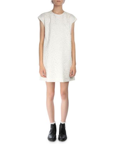 Cap-Sleeve Lace Skimmer Dress, Natural