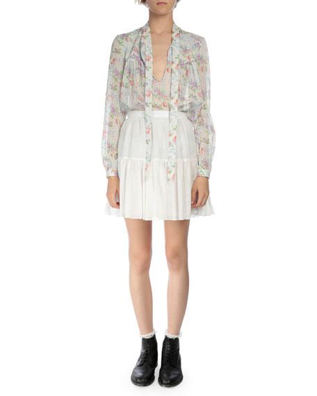 Tiered Full Mini Skirt, Shell White