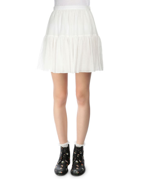 Tiered Full Mini Skirt, Shell White