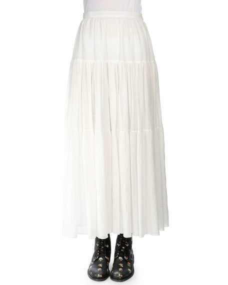 Saint Laurent Tiered A-Line Maxi Skirt, Shell White