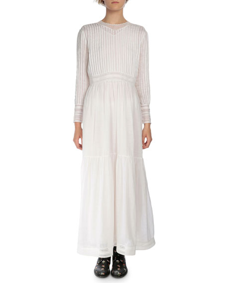 Saint Laurent Long-Sleeve Plisse & Tiered Long Dress, White