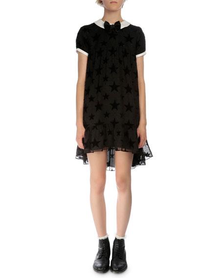 Saint Laurent Short-Sleeve Burnout-Star Dress, Black
