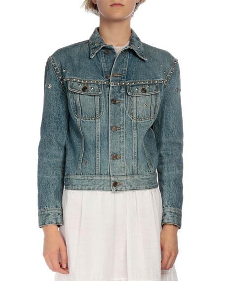 Saint Laurent Studded Long-Sleeve Denim Jacket, Denim