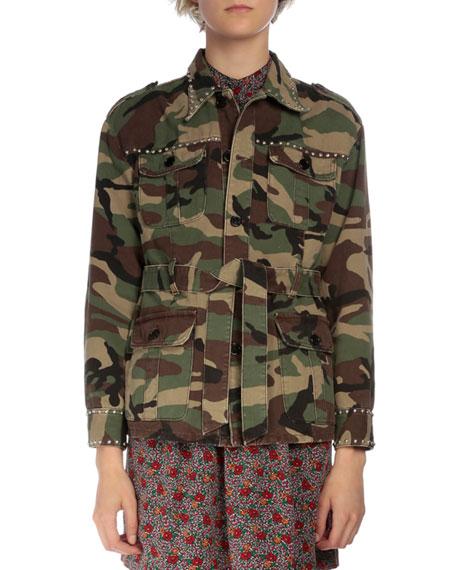 Camouflage Belted Jacket W/Stud Trim, Vintage Green