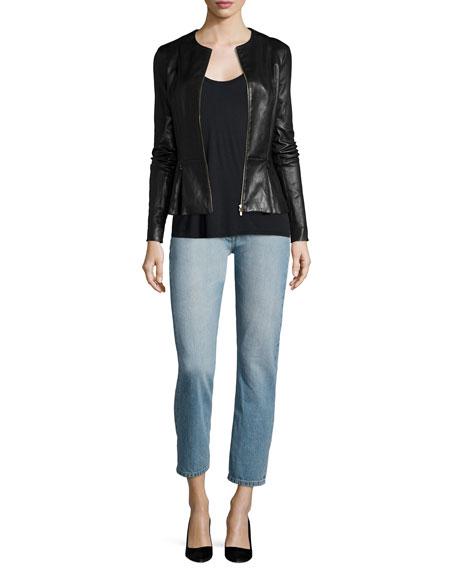 Anasta Zip-Front Leather Jacket, Black