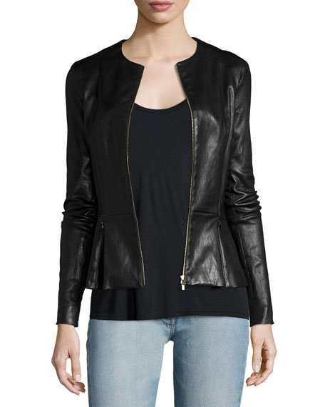 THE ROW Anasta Zip-Front Leather Jacket, Thomaston Scoop-Neck