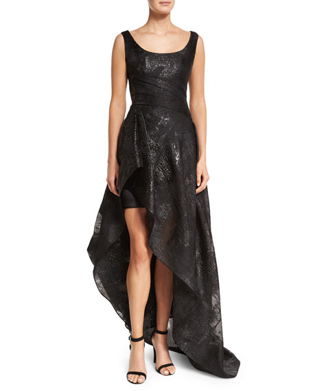 Sleeveless Metallic-Baldachin High-Low Gown, Black
