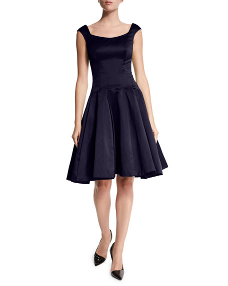 Zac Posen Cap-Sleeve Scoop-Neck Cocktail Dress, Midnight