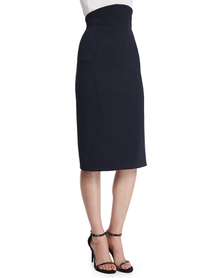 Zac Posen High-Waist Pencil Skirt, Midnight