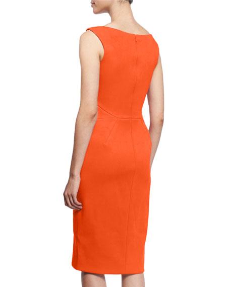 Sleeveless Split-Neck Cocktail Dress, Orange