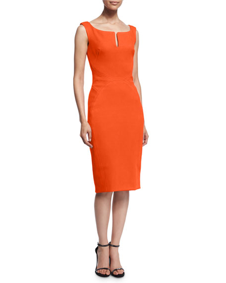 Zac Posen Sleeveless Split-Neck Cocktail Dress, Orange