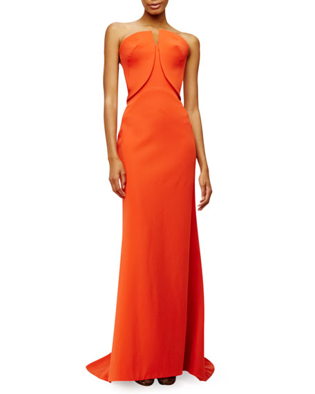 Strapless Fitted Gown, Orange