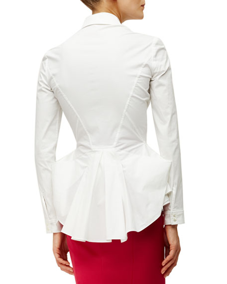 White Satin Blouse Long Sleeve 111