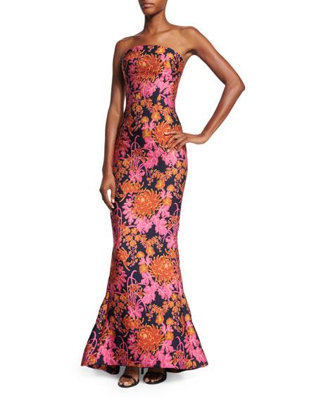 Zac Posen Strapless Floral-Print Trumpet Gown, Multi Colors