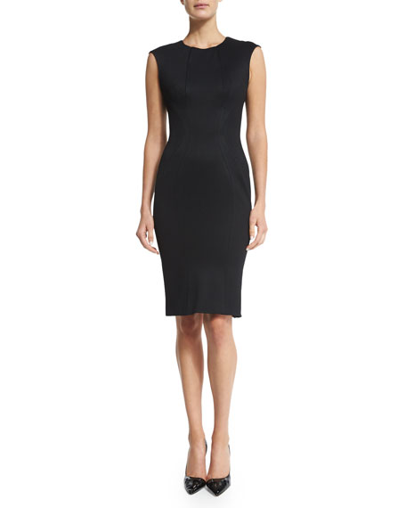 Zac Posen Sleeveless Jewel-Neck Day Dress, Black
