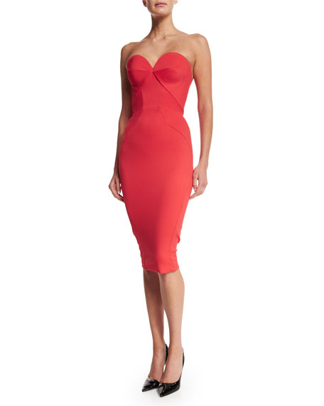 Strapless Fitted Cocktail Dress, Coral