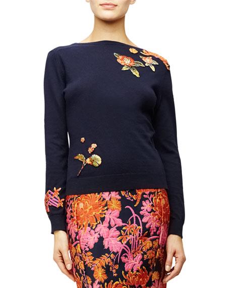 Zac Posen Floral Applique Long-Sleeve Sweater, Navy