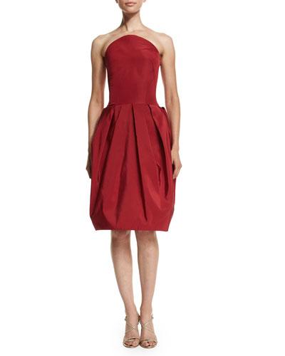 Strapless Bubble-Skirt Cocktail Dress, Crimson
