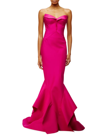 Strapless Sweetheart-Neck Trumpet Gown, Magenta