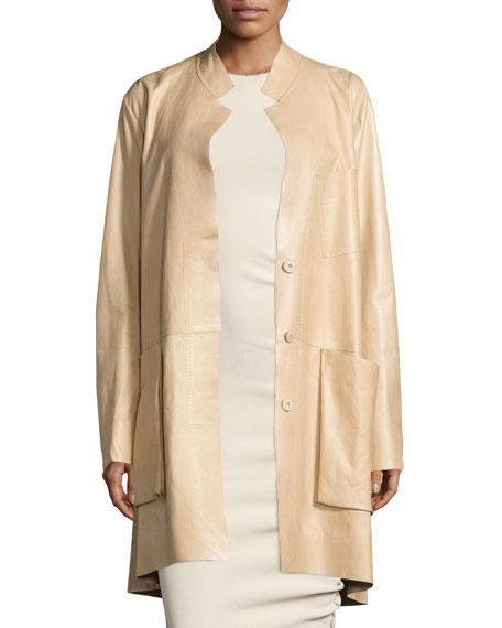 Donna Karan Trapeze Leather Coat W/Pockets, Pongee