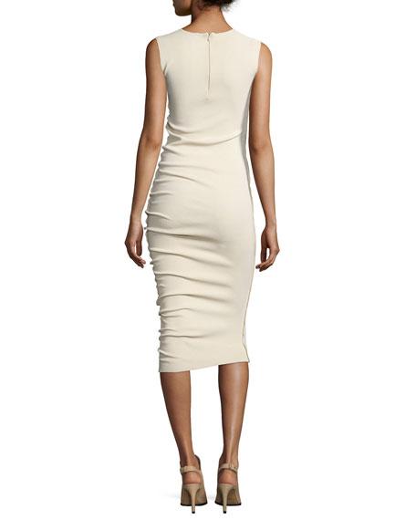 Sleeveless Midi Sheath Dress, Ecru