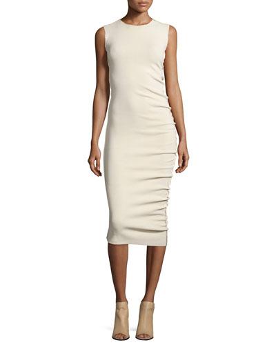 Donna Karan Sleeveless Midi Sheath Dress, Ecru