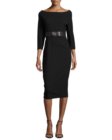 Donna Karan 3/4-Sleeve Belted Dress, Black