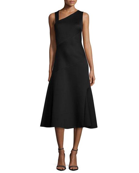 Donna Karan Sleeveless Spiral-Draped A-Line Dress, Black