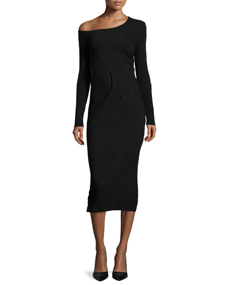 Donna Karan Long-Sleeve Off-The-Shoulder Dress, Black