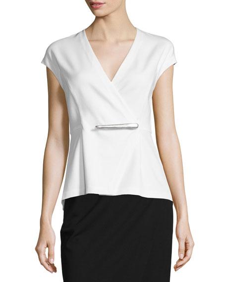 Donna Karan Cap-Sleeve Peplum Jacket-Style Wrap Top, Ivory