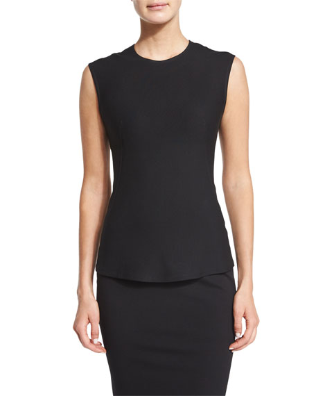 Donna Karan Sleeveless Jewel-Neck Shell Top, Black