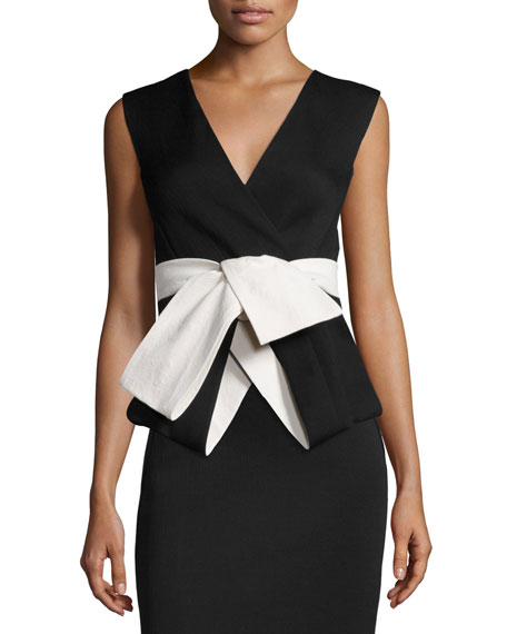 Donna Karan Sleeveless Jacket Top W/Obi Belt, Black/Bone